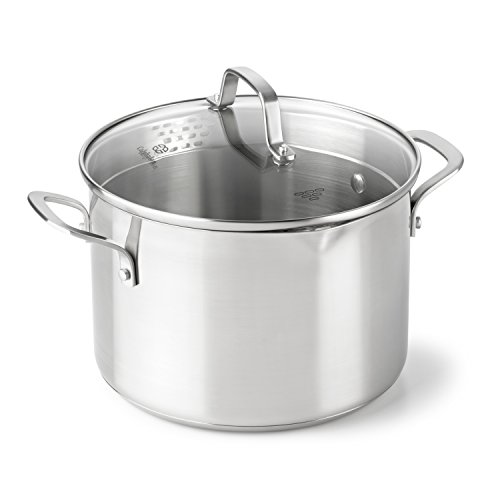 Calphalon Classic Stainless Steel Cookware Stock Pot, 6 Quart, Silver