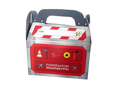 6 große Geschenk-Boxen * FEUERWEHR * mit Tragegriff für Kindergeburtstag oder Motto-Party // Kinder Geburtstag Geschenktüten Mitgebsel Mitgebseltüten Tüten Geburtstagstüten Motto Feuerwehrmann Box