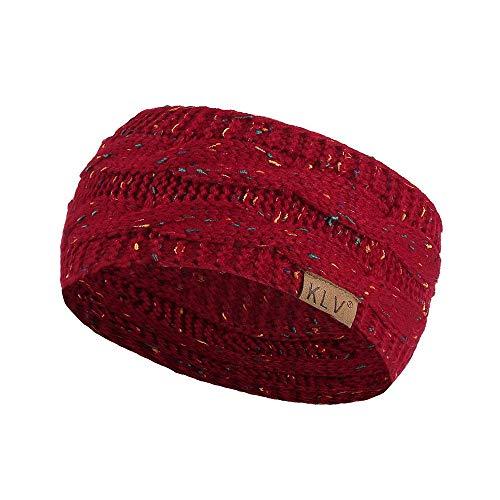 DDU Mode Serre-Tête Tricoté en laine acrylique doux-Bandeau de Cheveux pour Femme Couvre-Oreille Turban chaud en hiver,22 * 11cm Vin rouge