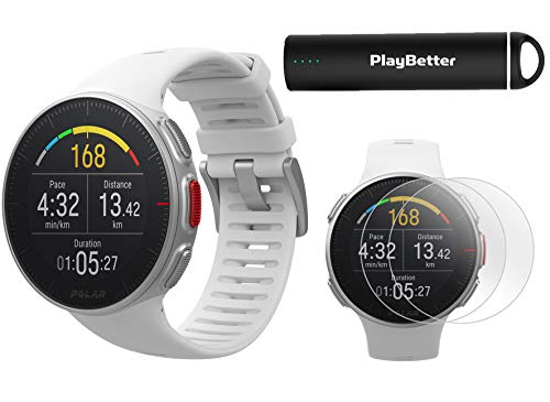 Polar Vantage V Pro (White) Power Bundle with PlayBetter Portable Charger & HD Screen Protectors (4-Pack) | GPS & Barometer | Heart Rate, Multisport Watch