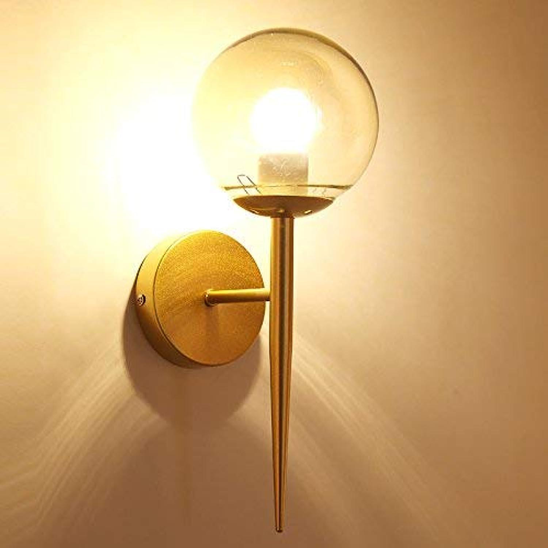 Hai Ying  Wandleuchte Nordic LED Nachttischlampe Modernes Minimalistisches Schlafzimmer Restaurant Balkon Treppen Korridor Glas Wandleuchte (Farbe  Gold)