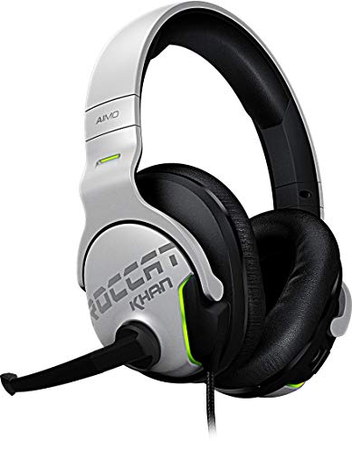 Roccat Khan Aimo 7.1 Surround Gaming Kopfhörer (Hi-Res Sound, USB, AIMO LED Beleuchtung, Real-Voice Mikrofon mit Mute-Funktion), weiß