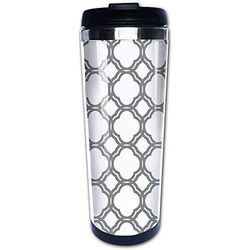 JULOE Marokkanische Fliese Quatrefoil grau und weiß Gitter Kaffeetassen Edelstahl Wasserflasche Tasse Travel Mug Kaffeebecher