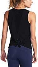 Mippo Workout Tops for Women Mesh Yoga Tops Workout Clothes Sleeveless High Neck Open Back Workout Shirts Tie Back Running Tank Tops Loose Fit Exercise Sports Gym Tops for Women Black M