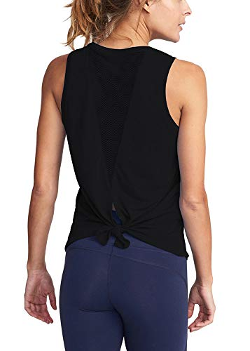 Mippo Workout Tops for Women Mesh Muscle Shirt Fall Workout Clothes Sleeveless High Neck Open Back Shirts Tie Back Yoga Running Tank Tops Loose Fit Exercise Sports Gym Tops Black M