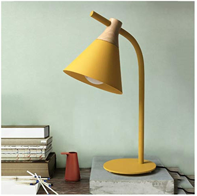 QTDH Macaron Tischleuchten - Leseleuchten LED Tischlampe - Augenschutz Schreibtischlampe Für Kinder - Wohnzimmer Schlafzimmer Study Cafe Bar (Farbe   Gelb, gre   Weies Licht)