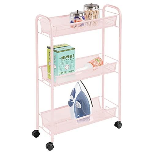 mDesign Estantería con Ruedas para lavadero – Compacto Mueble Auxiliar para Guardar detergente, quitamanchas, etc. – Práctico...