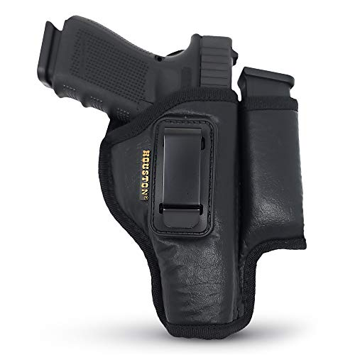 IWB Gun Holster with Mag Pouch by Houston - ECO Leather Concealed Carry Soft Material | FITS Glock 17/21, H &K,Beretta 92 FS,XDM,Ruger 45 BERSA PRO,PX4,FNX 45,FNH 45,HI Point 9/40/45 MM (Right)