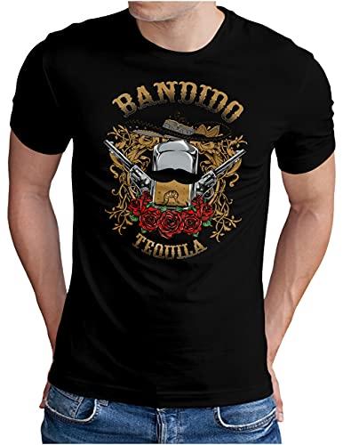 OM3® Bandido-Tequila T-Shirt | Herren | Drinking Fiesta Mexico Sunshine Party | Schwarz, XL