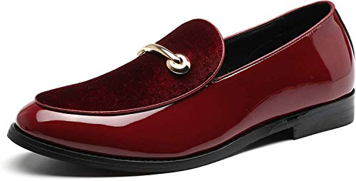 Fashion Loafers Men Dress Suede Patent Leather Driving Flats Slip on Moccasins Casual Shoes Red 11 US