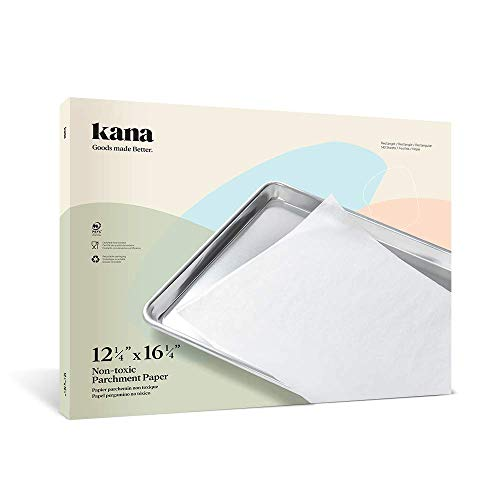 Kana 12 1/4' x 16 1/4' Parchment Paper -140 Pre-cut Sheets (194 Sq. Ft Total) - For Cooking, Baking, Dutch Oven, Panini Press, Toaster oven, Food dehydrator