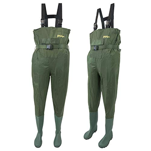 Michigan 100% Waterproof Olive Nylon Fishing Chest Waders with Belt Size 10