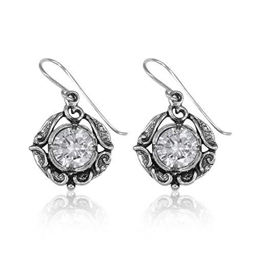 SHABLOOL Pendientes de plata de ley 925 con circonitas blancas facetadas con piedras preciosas románticas de ensueño bonito regalo de detalles finos para ella joyería hecha a mano cumpleaños y mujer