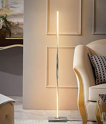 COSTWAY LED Stehlampe, Stehleuchte Helix Design, Standleuchte 122cm / 3000K warmweiß / 20W / 2m Kabel / für wohnzimmer Schlafzimmer (Silber)