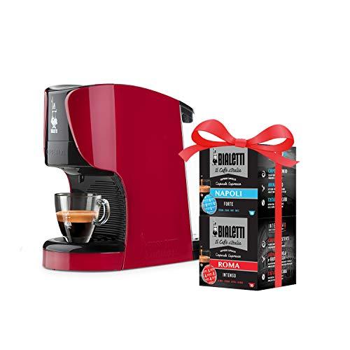 Bialetti Opera Macchina Espresso Alluminio Sistema caffè d\'Italia, Rossa + 32 Capsule Omaggio, 1450 W, 15 Bar, Rosso