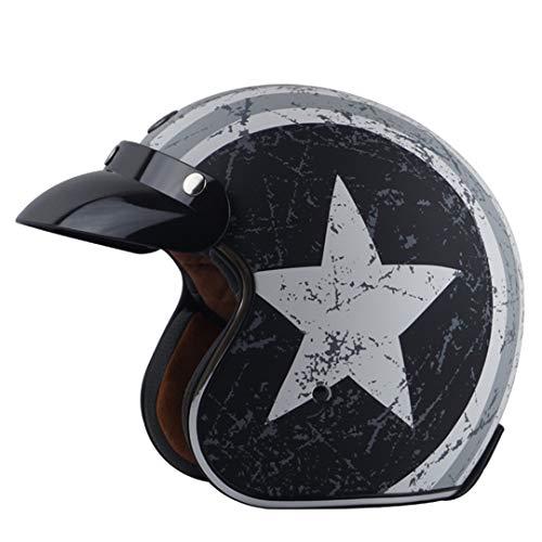 AR-Meitonsy Retro Moycle Helm 3/4 öffnet Scooter Helm mit innerem Schild Mann Einer Frau Vintage-Wespe Motorrad-Sturzhelm 8 XL