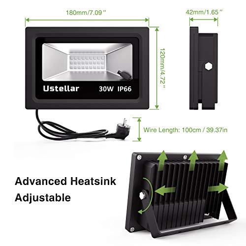 Ustellar Lot de 2 Projecteurs LED RGB 30W Intérieur et Extérieur, 16 Couleurs 4 Modes, IP66...