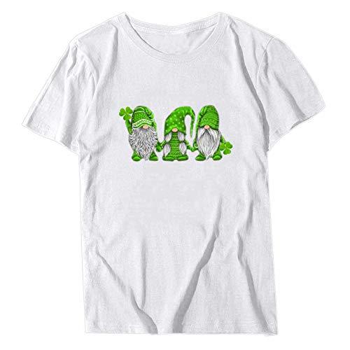 YANFANG Camiseta para Mujer Cuello Redondo, Delgada, Parte Superior básica St. Patricks Day Camiseta Mujer Leopard Shamrock Graphic tee Tops de Manga Corta