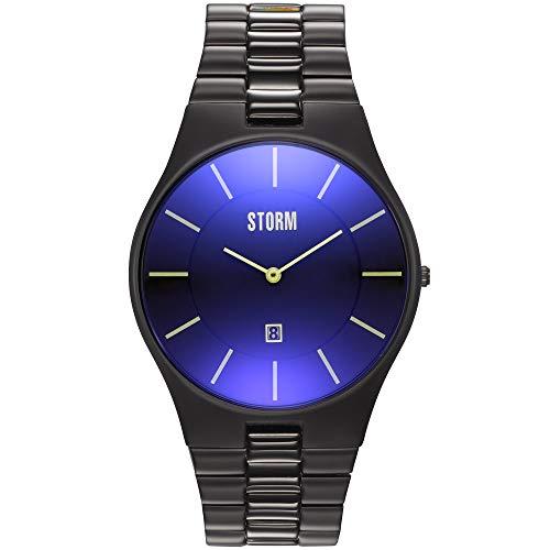 STORM London Slim-X XL Slate Blue, Herrenuhr, Edelstahlgehäuse, 5 bar Wasserdicht, Datumsfunktion, Mineralglas, 47159/SL/B