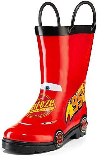 Disney Cars Kids Lightening Mcqueen Rust eze Boys Waterproof Easy-On Red Rubber Rain Boots - Size 2 Little Kid