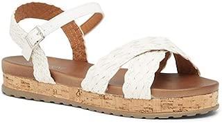 Criss Cross Flat Momie Cushion Sock Sandal - White 9