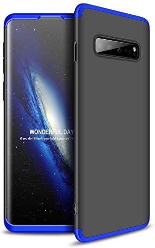 Capa Capinha Anti Impacto 360 Para Samsung Galaxy S10 Plus S10+ Tela De 6.4Polegadas Case Acrílica Fosca Acabamento Slim Macio - Danet (Preto com Azul)
