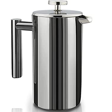 French Press Double-Wall Stainless Steel Mirror Finish (1.5L) Coffee/Tea Maker: Double-Screen System 100% No Coffee Grounds Guarantee, 18/10 Stainless Steel, Rust-Free, Dishwasher Safe, 2 Bo