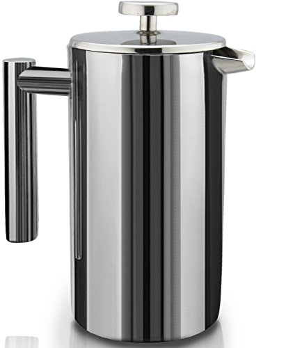French Press Double-Wall Stainless Steel Mirror Finish (1L) Coffee/Tea Maker:...
