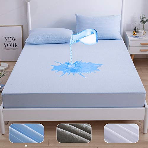 Agedate Cotton Fitted Sheet Waterproof Mattress Protector Queen Size Mattress Cover AntiWrinkle Fade Resistant Mattress Encasement Elastic Deep Pocket 18 Inches Blue Stripes