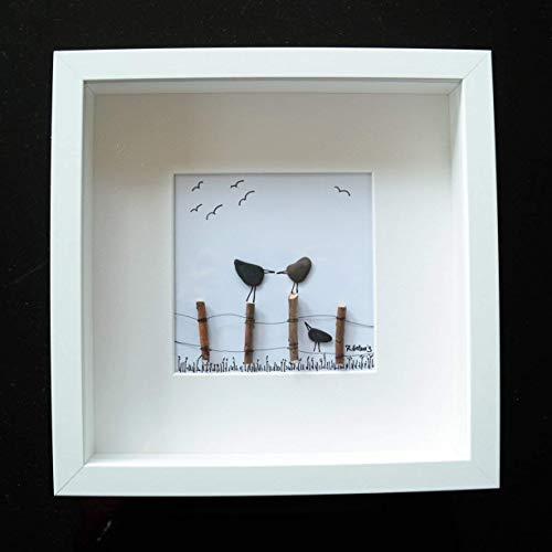 Kieselsteinbild - Pebble Art - Vögel auf Zaun