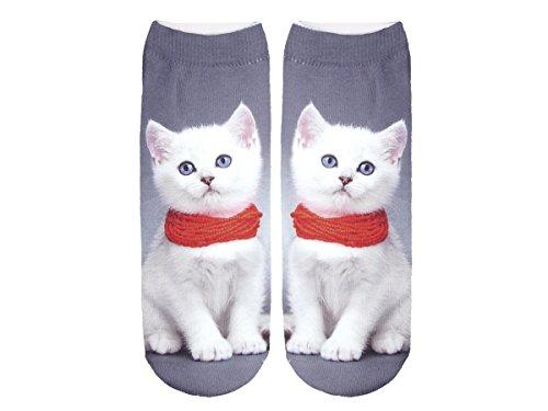 Unbekannt Socken bunt mit lustigen Motiven Print Socken Motivsocken Damen Herren ALSINO, Variante wählen:SO-L093 Katze