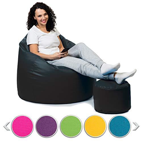 sunnypillow Premium XL Sitzsack mit Hocker Outdoor & Indoor mit 160L Styropor Füllung Sessel für Kinder & Erwachsene Sitzkissen Sofa Beanbag viele Farben zur Auswahl Schwarz