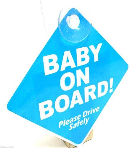 Panneau sécurité avec ventouse pour véhicule Baby on Board (en anglais) Bleu