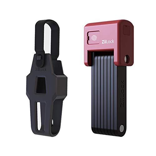ZiiLock Smart Folding Bike Lock, Fingerprint & Smartphone App Bluetooth Unlock, Heavy Duty Anti-Theft Compact Foldable Scooter Bicycle Lock with Keys and Case (Hero Red)
