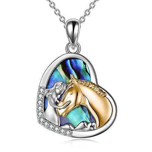 YFN Collier Fille et Cheval pour les Filles Bijoux de Cheval en Argent Sterling Cadeaux de Cheval pour les Femmes (Collier de Cheval en or) (Gold-Abalone)