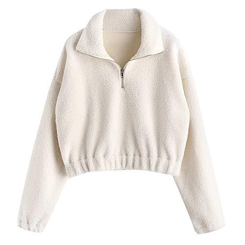 ZAFUL Damen Halber Reißverschluss Langarm Plain Faux Fur mit Stehkragen Pullover Plüsch Sweatshirt Hoodie (M, Weiss)
