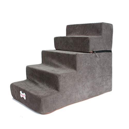 Escalera para mascotas, perros, gatos, franela, esponja de alta densidad, escalera para mascotas, paso para perros y gatos, transpirable y extraíble, 5 peldaños, para sofá o cama, 65 x 38 x 50 cm