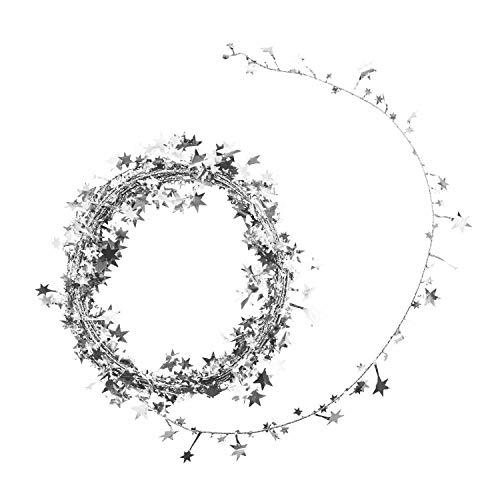 Oblique Unique® Folien Girlande Stern Lametta Glitzer Draht 7,5m Hängedeko Tischdeko Geburtstag Jubiläum JGA Hochzeit Weihnachten Silvester Party Karneval Fasching Deko - wählbar (Silber)