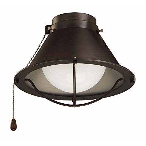 kathy ireland HOME Seaside Ceiling Fan Light Kit   LED Lighting Fixture with Cage Shade and Pull Chain   Includes A15 Bulb, Oil Rubbed Bronze