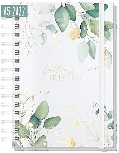 """Kalender 2022 A5\""""Lieblingstimer\"""" [Blattgold] Terminplaner Ringbuch, Terminkalender, Spiralkalender, Wochenplaner, Planner   nachhaltig & klimaneutral"""