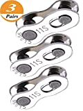 Janegio 3 Pairs Bicycle Missing Link Connector Link 11 Speed Chain Reusable Steel Bike Chain Link,Silver