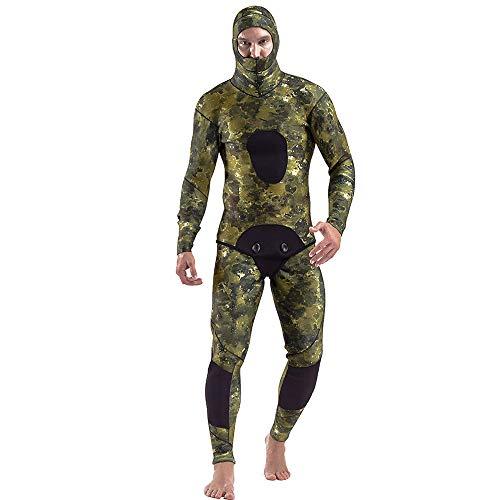 HUOFEIKE 7 mm Dicker Neoprenanzug für Herren mit Kapuze und einteiliger Hose,Wintertauchanzug Zweiteiliger Neopren-Surfanzug Tieftauchen Unterwasserbetrieb,XL