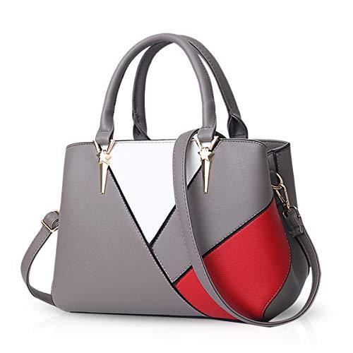 NICOLE & DORIS Handtaschen für Damen taschen Leder Damen Handtasche die neuesten Trends Spleiß Farbe Umhängetaschen Grau