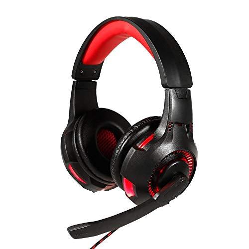 DLRBWAN Cuffie da Gioco con Microfono, chiarezza, riduzione del Rumore, Cuffia, luci LED per Giochi per Computer per PS4 / Xbox-One-Rosso