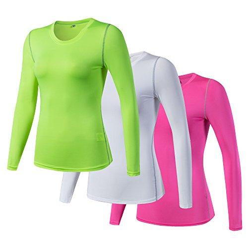 iEventStar Damen-Unterziehshirt, langärmelig, kühl, trocken, 3er-Pack: Grün, Weiß, Pink, Tag Size XL (UK/EU Size L)