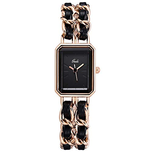 YIBOKANG Women Fashion Simple Trend Square Small Dial Waterproof Rose Gold Quartz Bracelet Watch
