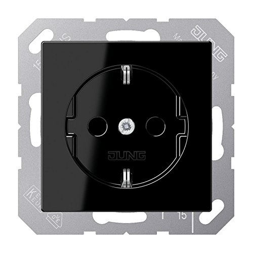 Jung Schuko stopcontact 16 A 250 V Serie A, 1 stuk Single zwart