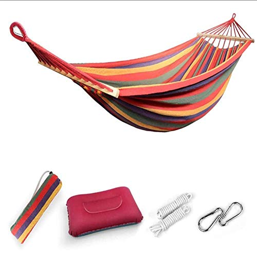 NMDD Hammock, Hanging Hammock 220x160CM for Camping Garden, Hanging Hammocks with 80CM Extended Bars, MAX 300KG Load Capacity, Stripes-red