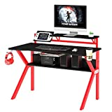 The Urban Port PVC Coated Ergonomic Metal Frame Gaming Desk with K Shape Legs, Black and Red