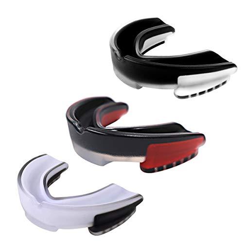 Rehomy Sportmundschutz, 3er-Pack Eva zweifarbiges Mundstück Zahnschutz klammern mit Tragetasche für Kinder/Jugendliche/Erwachsene, ideal für MMA-Boxen, Rugby, Lacrosse, Fußball, Hockey